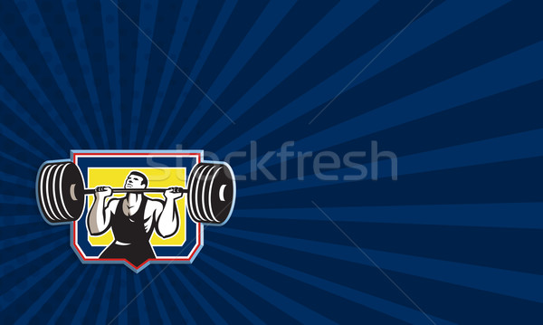 Weightlifter Lifting Heavy Barbell Retro Stock photo © patrimonio