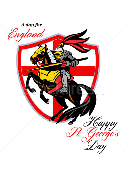 A Day For England Happy St George Day Retro Poster Stock photo © patrimonio
