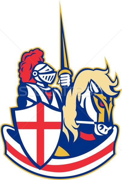 English Knight Riding Horse England Flag Retro Stock photo © patrimonio