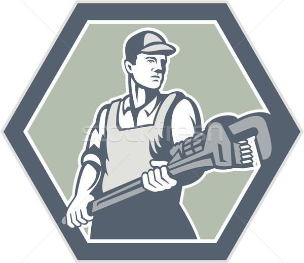 Plumber Holding Plumbing Wrench Retro Stock photo © patrimonio