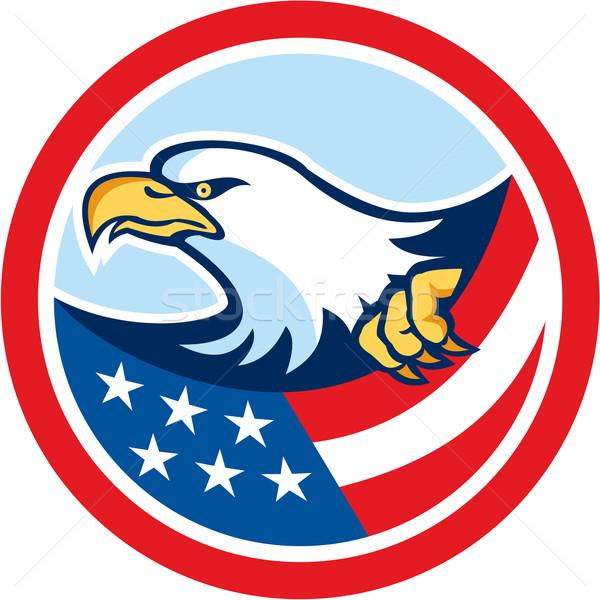 американский лысые орел флаг круга ретро Сток-фото © patrimonio