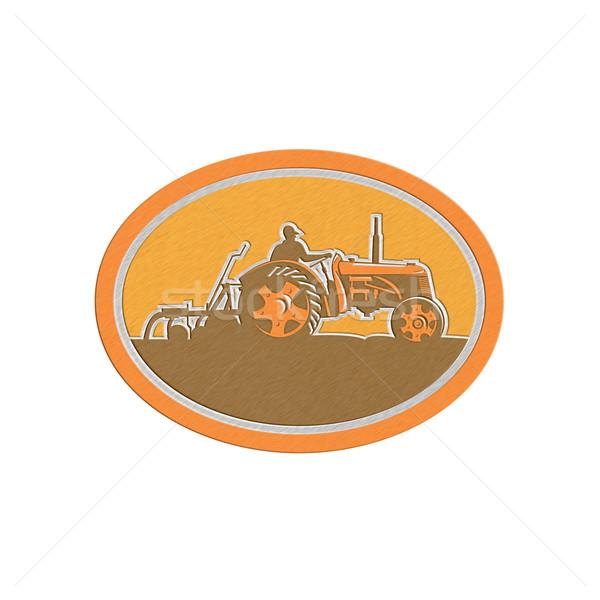 Metallic Farmer Driving Vintage Farm Tractor Oval Retro Stock photo © patrimonio