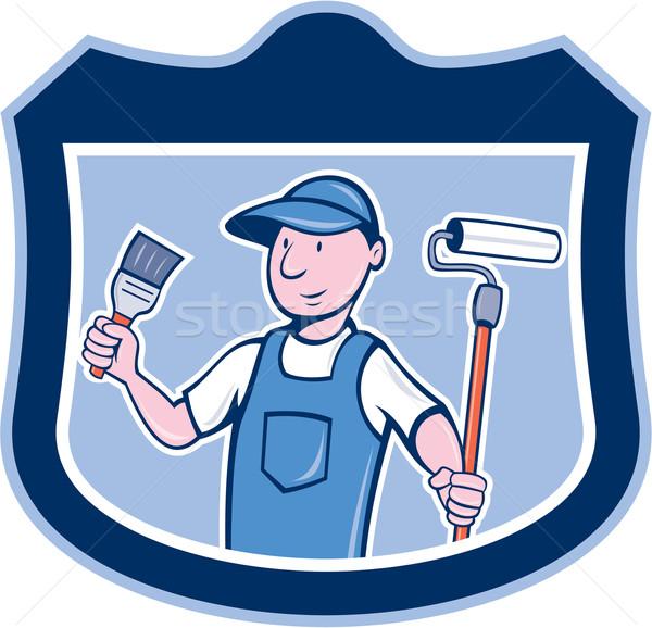 House Painter Holding Paintbrush Roller Cartoon Stock photo © patrimonio