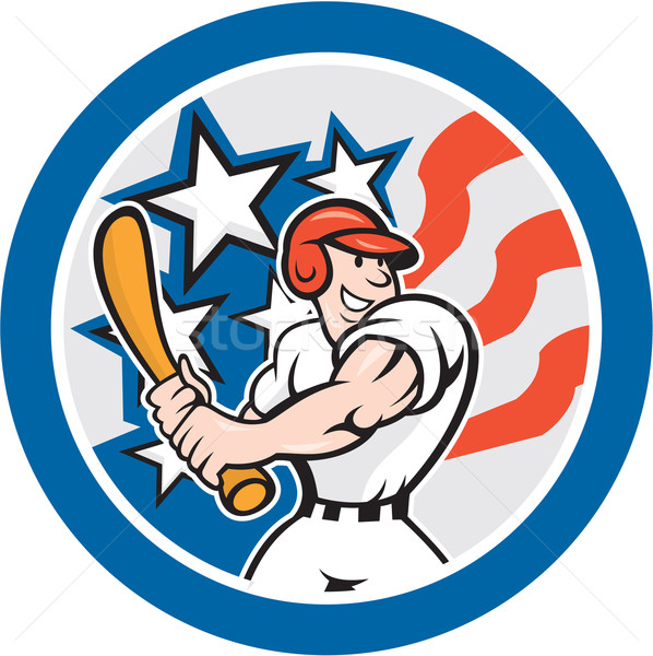 Americano jogador de beisebol círculo desenho animado ilustração conjunto Foto stock © patrimonio