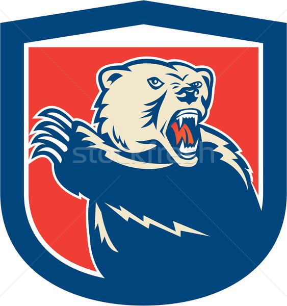 Grizzly Bear Swiping Paw Shield Retro Stock photo © patrimonio