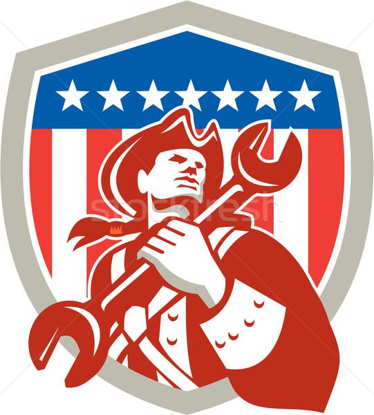 Mecánico americano patriota escudo Foto stock © patrimonio