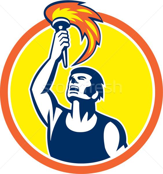 Athlete Player Raising Flaming Torch Circle Retro Stock photo © patrimonio