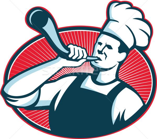 Chef Cook Baker Blowing Bullhorn Retro Stock photo © patrimonio