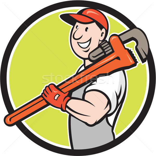 Plumber Smiling Holding Monkey Wrench Circle Cartoon Stock photo © patrimonio