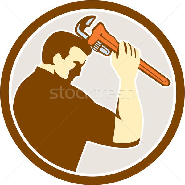 Plumber Holding Monkey Wrench Side Circle Retro Stock photo © patrimonio