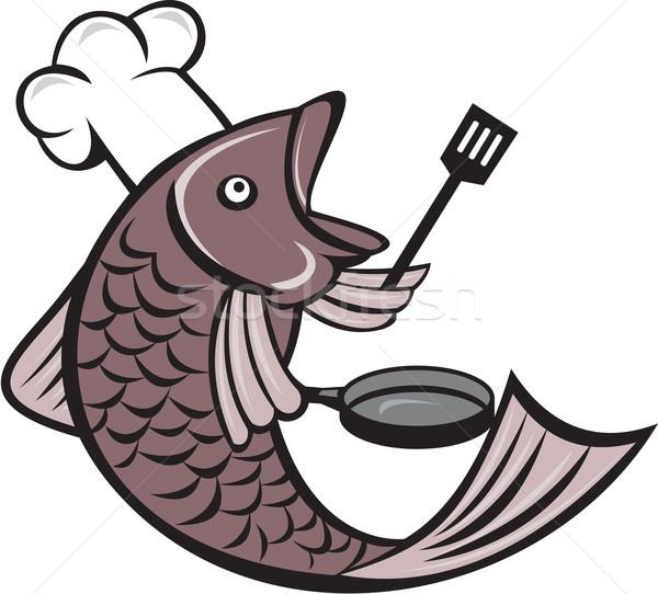 Poissons chef Cook spatule poêle Photo stock © patrimonio