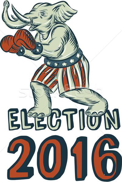 Election 2016 Republican Elephant Boxer Etching Stock photo © patrimonio