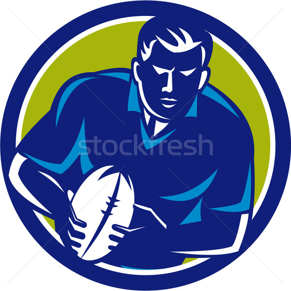 Rugby Player Running Passing Ball Circle Retro Stock photo © patrimonio