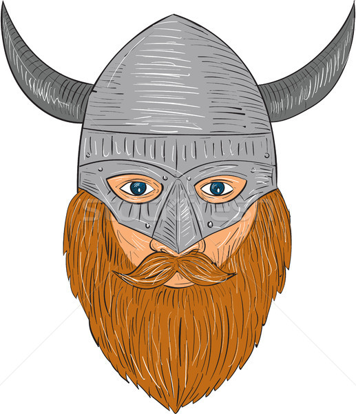 Viking Warrior Head Drawing Stock photo © patrimonio
