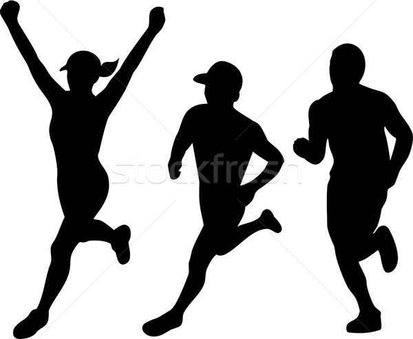 Marathon coureurs silhouette ensemble illustrations Photo stock © patrimonio