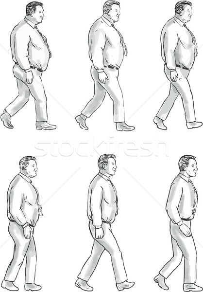 Obese Man Morphing To Fit Man Collection Set Stock photo © patrimonio