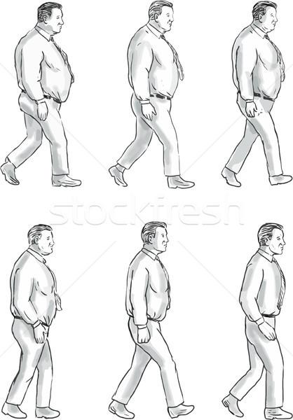 Fettleibig Mann passen Sammlung Set Illustration Stock foto © patrimonio