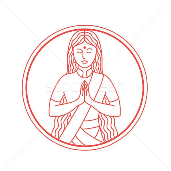 Namaste ikon stílus illusztráció indiai nő Stock fotó © patrimonio