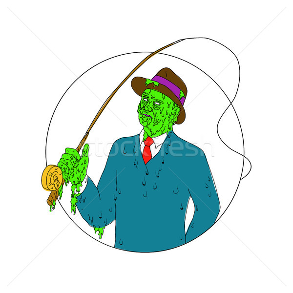 Mobster Fisherman Fly Rod Reel Grime Art Stock photo © patrimonio
