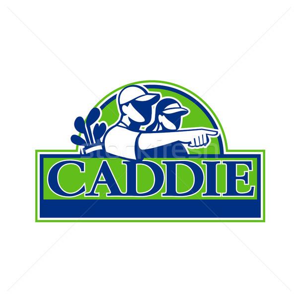 Professional Golfer and Caddie Retro Stock photo © patrimonio