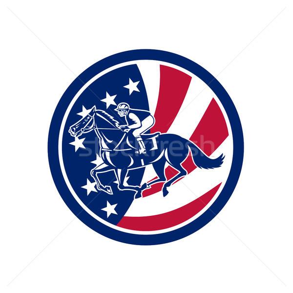 Amerikai zsoké lóverseny USA zászló ikon Stock fotó © patrimonio