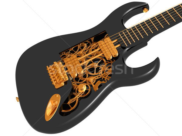 Black and gold  mechanical guitar Stock photo © paulfleet