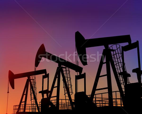 Trois pétrolières désert crépuscule illustration coucher du soleil Photo stock © paulfleet