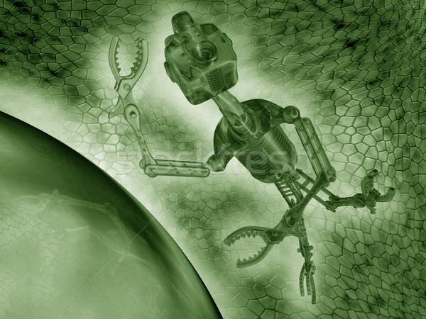 Ilustração trabalhando microscópico ambiente verde trabalhador Foto stock © paulfleet