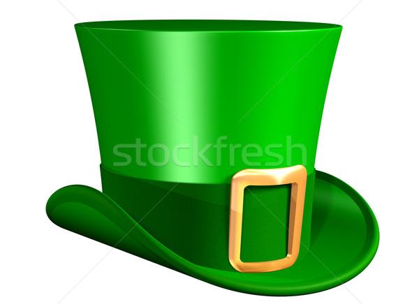 Stock fotó: Zöld · felső · kalap · izolált · illusztráció · buli