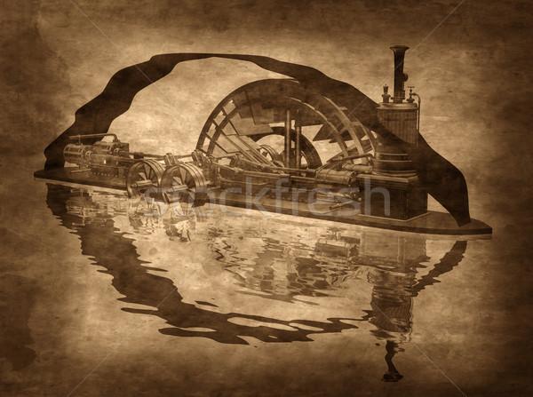Steampunk tekne örnek Metal seyahat Stok fotoğraf © paulfleet