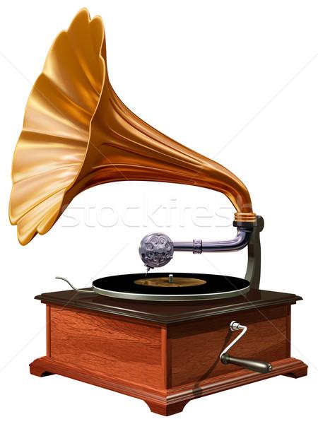 Gramófono aislado ilustración antiguos madera vintage Foto stock © paulfleet