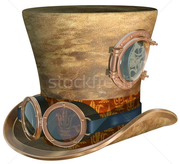 Steampunk chapeau lunettes isolé illustration haut Photo stock © paulfleet