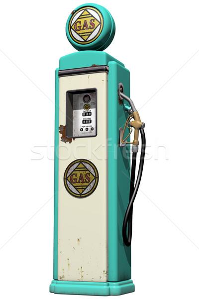 Klasszikus benzinkút pumpa izolált illusztráció viharvert kék Stock fotó © paulfleet