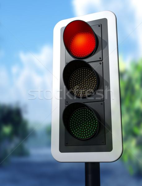 ストックフォト: 赤 · 信号 · 実例 · 田舎道 · 通り · 輸送