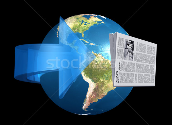 Notícia em torno de mundo ilustração jornal voador Foto stock © paulfleet