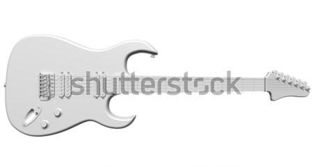 Alle witte gitaar illustratie geïsoleerd elektrische gitaar Stockfoto © paulfleet