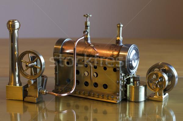 Model buhar motor küçük çalışma oyuncak Stok fotoğraf © paulfleet