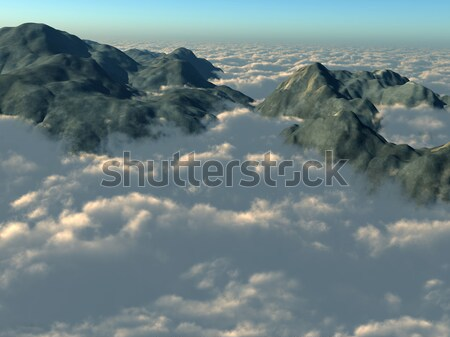 Stock photo: Mountain tops from above the clouds
