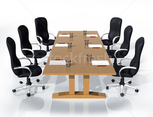 Reunião de negócios ilustração seis cadeiras em torno de tabela Foto stock © paulfleet