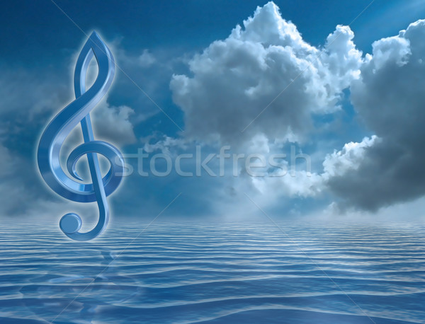 Blue Treble Clef Stock photo © paulfleet