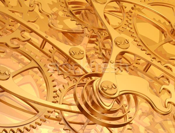 Illusztráció arany precizitás fogaskerekek sebességváltó óra Stock fotó © paulfleet