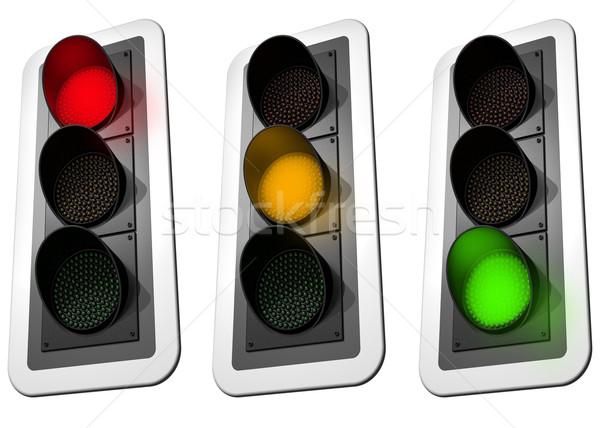 Verkeerslichten geïsoleerd illustratie drie straat oranje Stockfoto © paulfleet