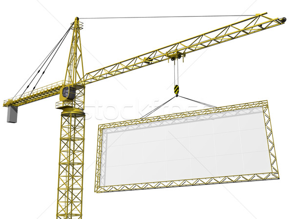 Crane lifting blank sign Stock photo © paulfleet