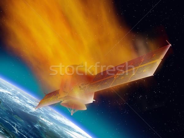 спутниковой пространстве сжигание вверх связи горячей Сток-фото © paulfleet