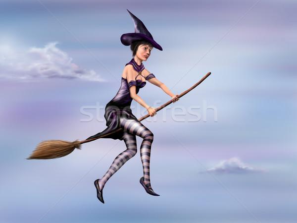 Stockfoto: Heks · paardrijden · bezem · illustratie · jonge · vliegen
