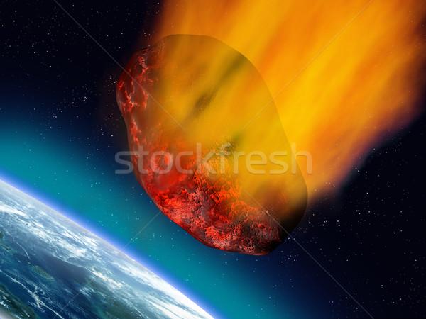 Illustratie reusachtig wereld ruimte brandend ramp Stockfoto © paulfleet
