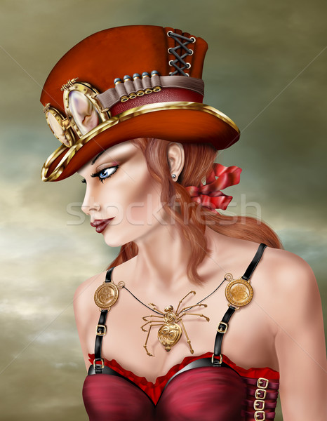 Steam Punk Woman in Red Stock photo © paulfleet