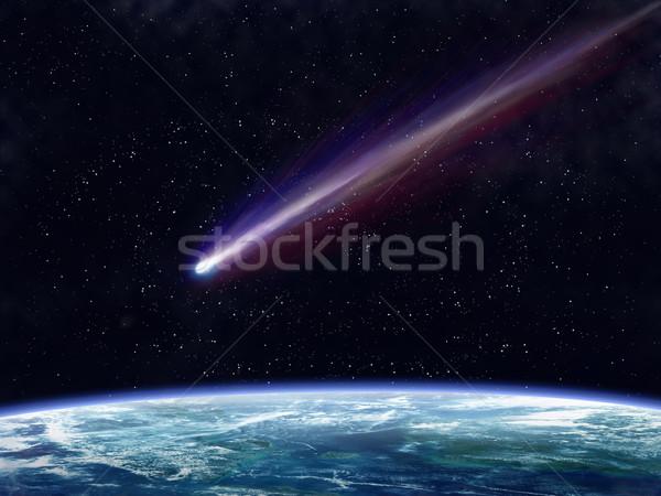 Kuyrukluyıldız örnek uçan uzay yakın toprak Stok fotoğraf © paulfleet