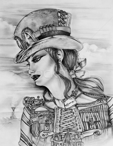 Steampunk femme originale crayon croquis Photo stock © paulfleet