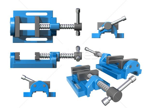 Establecer metal aislado ilustración azul Foto stock © paulfleet